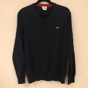 Lacoste blue v neck sweater